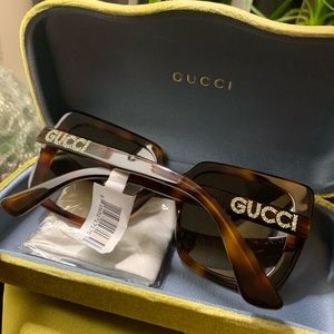 Authentic Gucci 54 Tortoise Crystals Acetate sungl